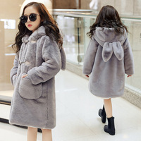2019 Baby Teenage Winter Cartoon Thick Children Parka Kids Girls Faux Fur Fleece Ear Hooded Coats down Jackets clothes 30degree