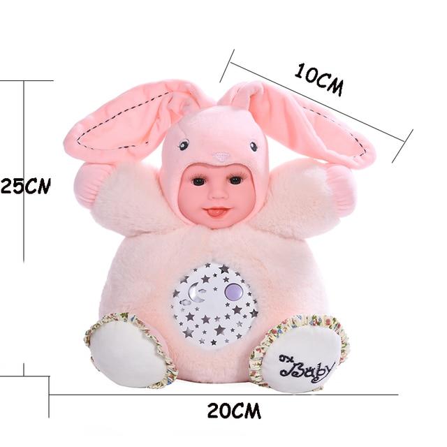 25 سنتيمتر تهويدة نعسان ألعاب من القطيفة النوم رابيت مصباح مضيء تولد من جديد الطفل أفخم دمى الإسقاط ضوء ملون النوم دمية