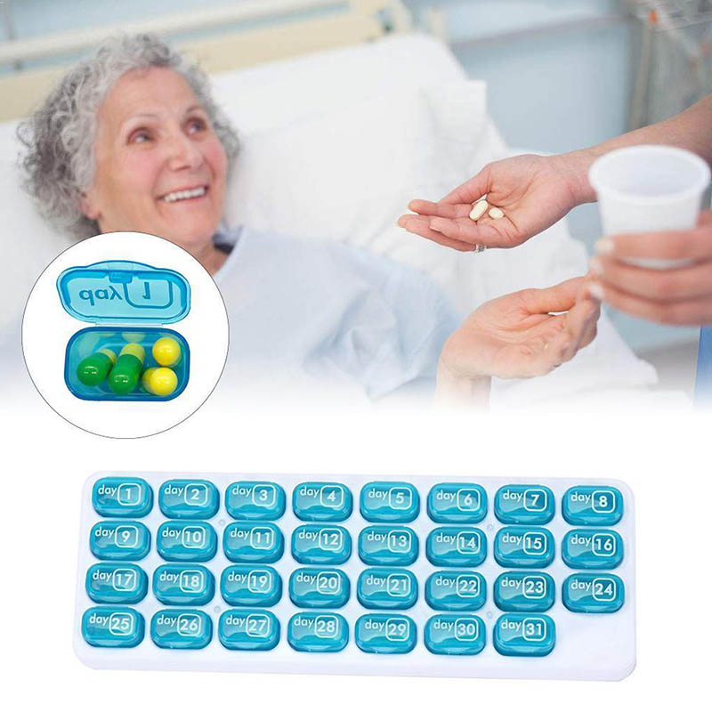31-Day Pill Storage Organizer Container Monthly Medication Medicine Dispenser Case Travelling Pill Case Pill Box Splitters M2