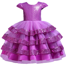 Pegeant Sequined Backless Kids Dresses for Girls Wedding Party Princess Dresses Baby Girls First Communion Layered Tutu Dresses ship out after 20 days moq 5 pieces in same sizes same color 5390 unicorn layered baby girls dresses brithday kids dresses