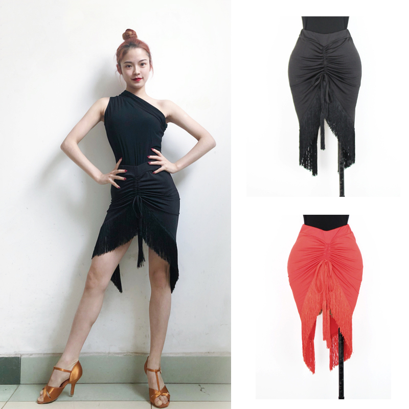 New Latin Dance Costumes Women/Female Half-Length Black Tassel Skirt Tango/Salsa/Rumba/Samba Practice/Performance Wear DQL402