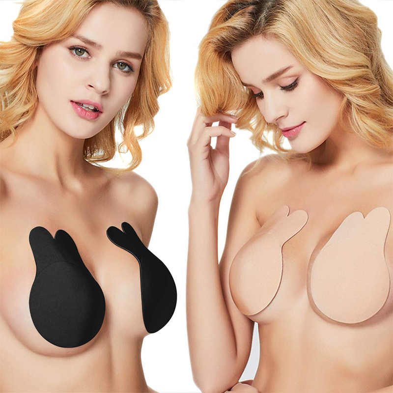Invisible Silicone Breast Lifting Bra Nipple Cover Rabbit Push Up Tape Strapless