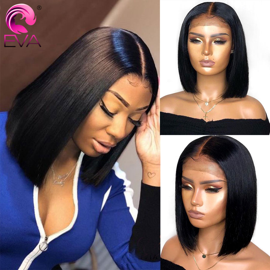 Eva Hair Short Bob Lace Front Wigs For Black Women Brazilian Straight Lace Front Human Hair Wigs Pre Plucked With Baby Hair Remy