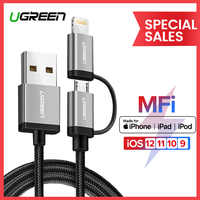 Ugreen 2 in 1 USB Cable for iPhone Pro 11 Max X 8 7 Fast Charging Lightning + Micro USB Cable for Samsung Xiaomi Huawei USB Cord