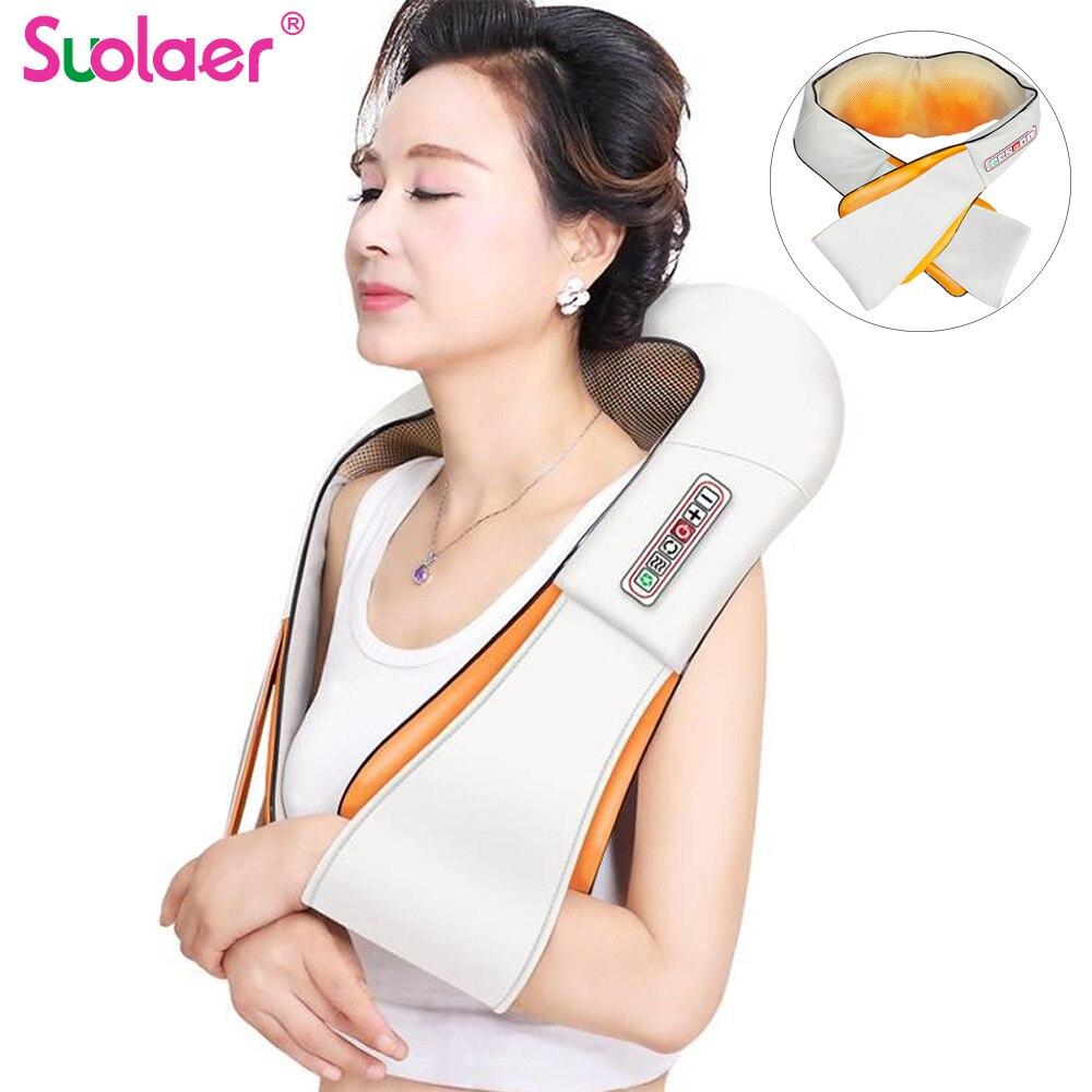U Shape Electrical Shiatsu Back Neck Shoulder Body Massager Infrared Heated Kneading 4D Shiatsu Massage Health Home/Office/CarMassage Shawl   -