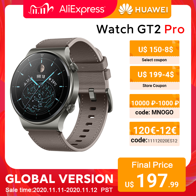 In stock Global Version HUAWEI Watch GT 2 pro SmartWatch 14 days Battery Life GPS Wireless Charging  Kirin A1 GT2 Pro