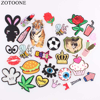 ZOTOONE DIY Iron Patches For Clothing Embroidery Rose Army Sequin Patch Set Badge Stickers Applique For Clothes Sew On Jeans A image