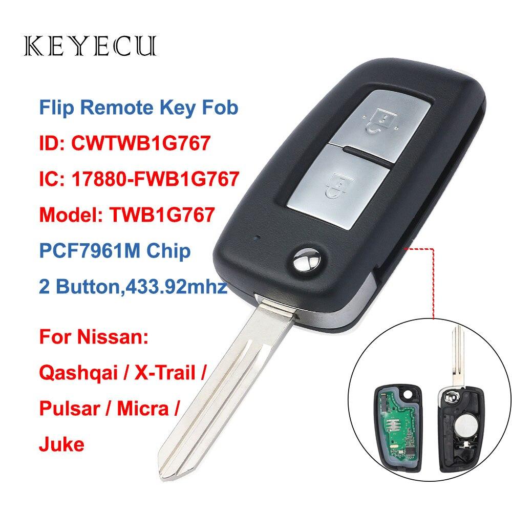 Chave remota fob 433.92 mhz pcf7961m do carro da aleta dos botões de keyecu 2 para nissan qashqai, x-trail, pulsar, micra, juke, cwtwb1g767