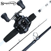 Sougayilang 1,75 m Angelrute Combo 3 Abschnitte Carbon Angelrute mit 12 + 1BB Baitcastingrolle Angelgerät Set kit Pesca