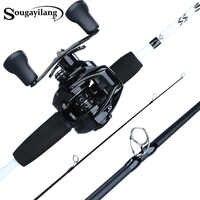 Sougayilang 1.75m canne à pêche Combo 3 Sections canne à pêche en carbone avec 12 + 1BB Baitcasting moulinet ensemble de matériel de pêche Kit Pesca