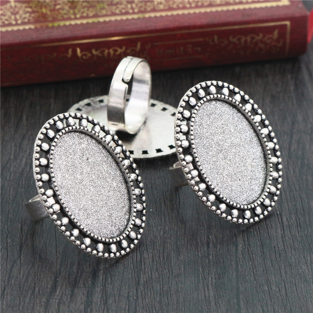 18x25mm 5pcs Antique Silver Plated Brass Oval Adjustable Ring Settings Blank/Base,Fit 18x25mm Glass Cabochons  J4-25