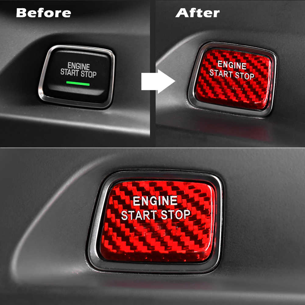 For Audi Red Carbon Fiber Engine Ignition Push Start//Stop Button Cap Sticker 1pc