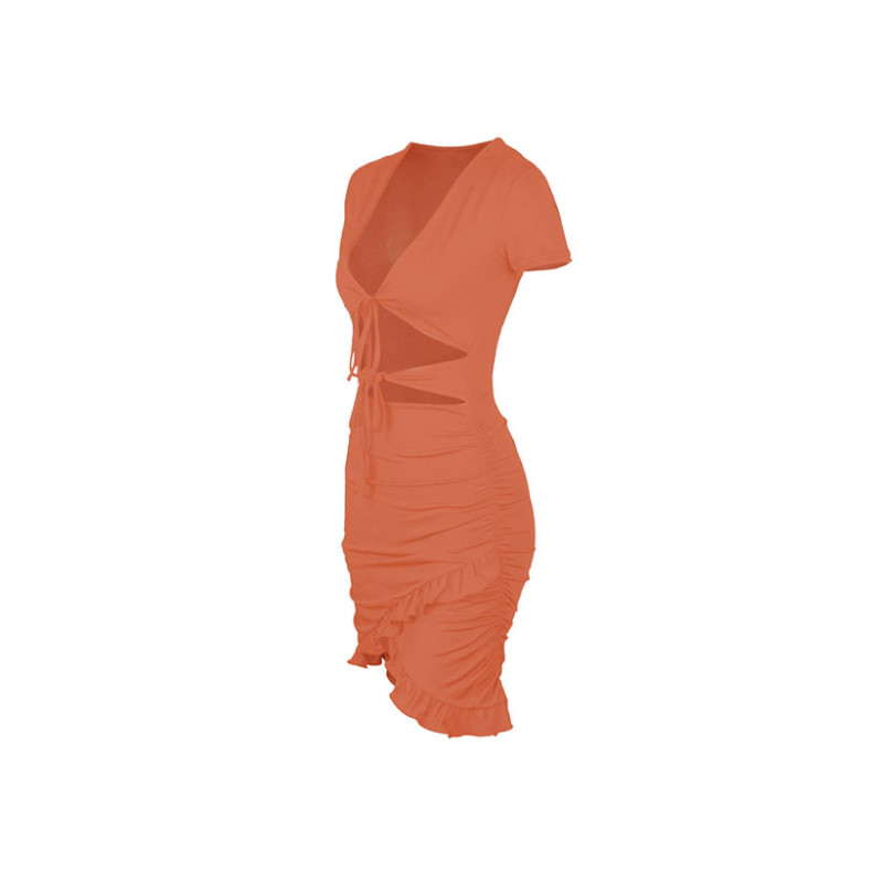Womens V Neck Wrap Short Mini Dress Ladies Bodycon Summer Hollow Out Sexy Fashion Evening Party Dress 8