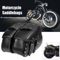 Hot New Pair Universal Motorcycle Saddlebags Leather Luggage Storage Tool Pouch Side Bag For Harley