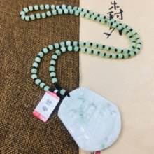 Zheru Jewelry Pure Natural Jadeite Carved Light Green Pirate Ship Pendant with Green Bead Sweater Chain Send Certificate(China)