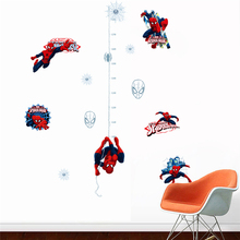 Marvel spiderman height measure wall stickers for kids room accessories home decor growth chart decals poster DIY art mural