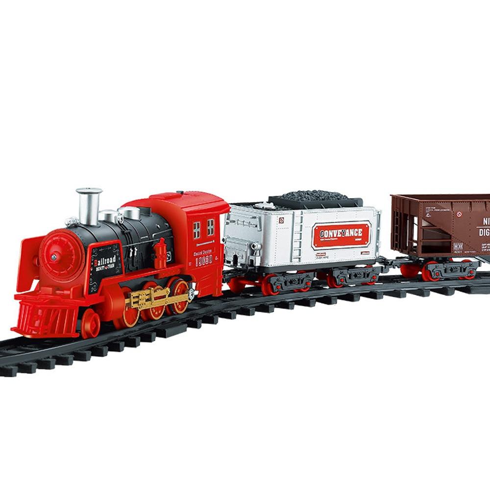 Пульт дистанционного управления транспортный автомобиль электрический паровой дым RC поезд набор модель игрушка в подарок - Цвет: B