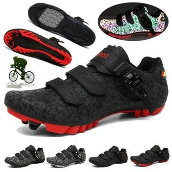 Sapatos de Bicicleta de montanha Ciclismo Tênis Slef-bloqueio Luminosa Bicicleta de Estrada MTB Shoes Men Respirável Sapatos Mulheres Correndo Ciclismo Sapato 1