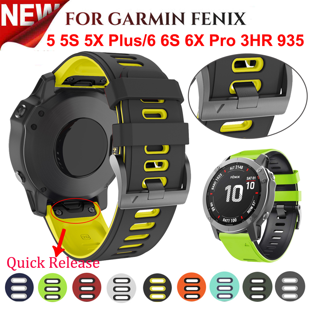 26 22MM Silicone Quick Release Watchband Strap for Garmin Fenix 6X 6 6S Pro smartwatch Easyfit Wrist Band Strap Fenix 5X 5 5S