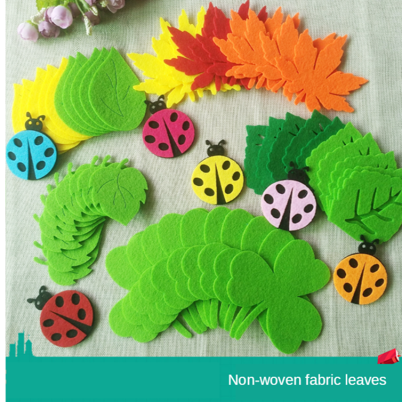 T-N Leaves Handmade Felt Pad Non Woven Green Tree Patch Kindergarten School Wall Decoration Kids Party DIY Crafts Accessories