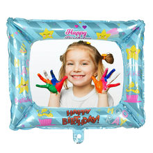 1pcs Foil Happy Birthday Balloon Photo Frame Family Friend Photo Prop For Kids Birhtday Party Baby Shower Photo Booth Decoration(China)