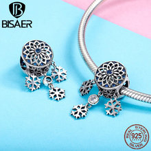 BISAER New Collection 925 Sterling Silver Snowflakes Shape Pendant For Bracelet&Necklace Fashion Jewelry For Women Gift HSC1117 bisaer 100%real 925 sterling silver rose gold color heart apple sakura shape pendant necklace for women fashion gift hsn313