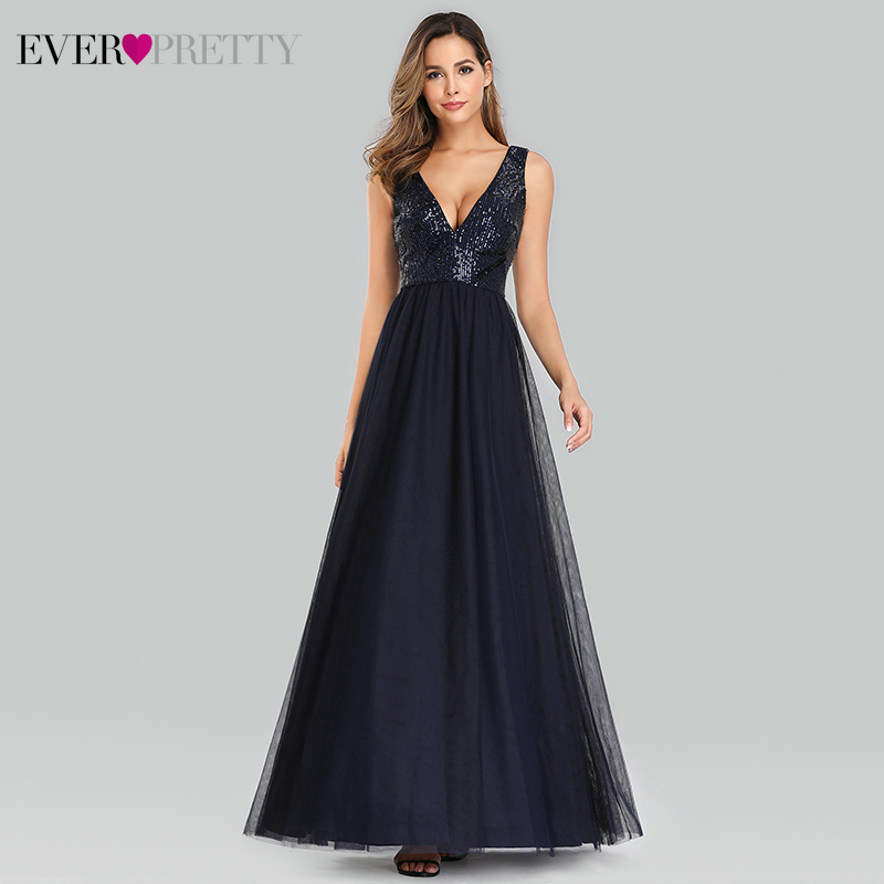Sexy Sequined   Prom     Dresses   Ever Pretty A-Line Double V-Neck Elegant Sparkle Evening Party Gowns Vestido Largo Elegante 2019