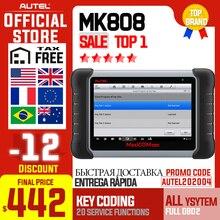 Autel maxicom mk808 obdii scanner automotivo immo epb sas bms tpms dpf serviço ferramenta de diagnóstico md802 todo o sistema + maxicheck pro