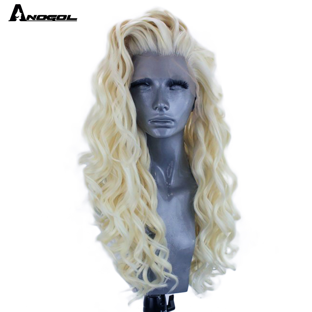 Anogol High Temperature Fiber Free Part Long Afro Kinky Curly Platinum Blonde Synthetic Lace Front Wig For Women