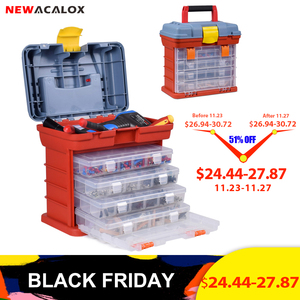 NEWACALOX Outdoor Tool Box 4 Layer Fishing Tackle Portable Tool Case Screw Hardware Plastic Storage Box with Locking Handle