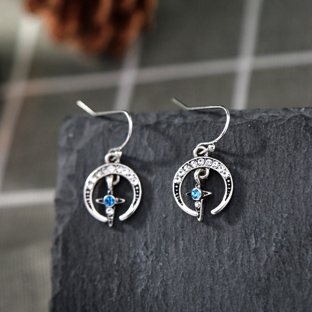 Vintage Silver color Crystal Blue Women Fashion New Arrival Indian Jewelry Star Drop Earrings