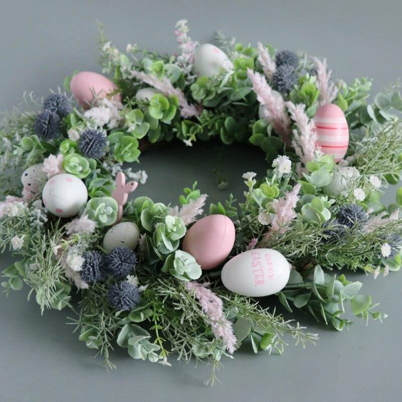 50 см ручной Пасхальный гирлянда яйца венок из ротанга искусственная Цветочная Гирлянда дом окна входную дверь венок пасхальные украшения