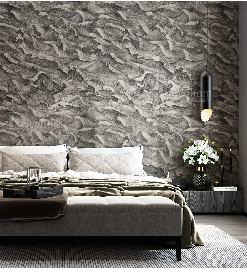 Black,Grey Classic Designer Wallpaper Bedroom Modern Abstract Art Design  Wall Paper Rolls Background Coverings Wallpaper Computer Wallpaper Designs  ...