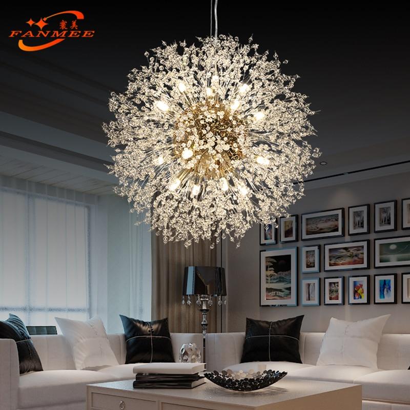 Moderno led lustre de cristal luz pingente pendurado lâmpada dandelion iluminação lustre para sala estar jantar decoração