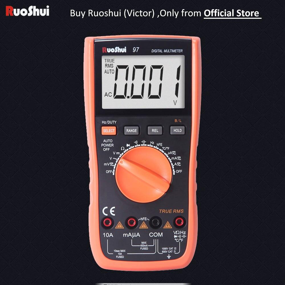 Multimètre numérique VC 97 Victor RuoShui 4000 degrés gamme automatique résistance RMS réelle capacité fréquence température Multimetro