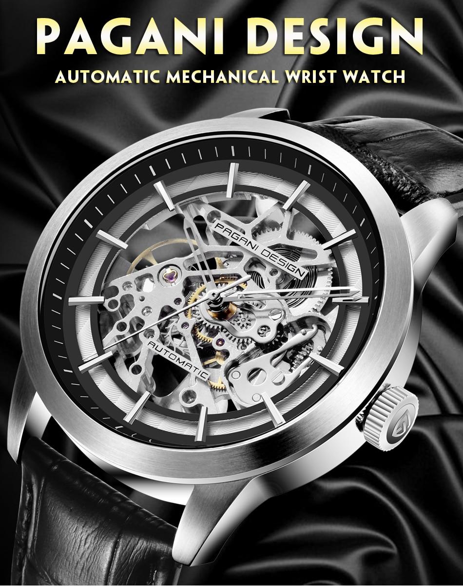 oco couro relógios de pulso masculino mecânico