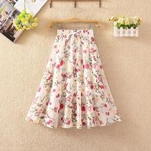 Pleated Skirt Retro-Style Bohemian High-Waist Women's Print Gauze Leisure Elegant