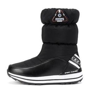 Image 3 - Keile Schnee Stiefel Frauen Winter Unten Lange Warme Flache Schuhe Frau A324 Mode Dame Schwarz Weiß Rot Runde Kappe Plattform stiefeletten