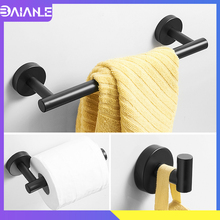 цена Towel Holder Black Stainless Steel Towel Bar Set Toilet Paper Holder Bathroom Hook for Towels Coat Rack Bathroom Hardware Set онлайн в 2017 году