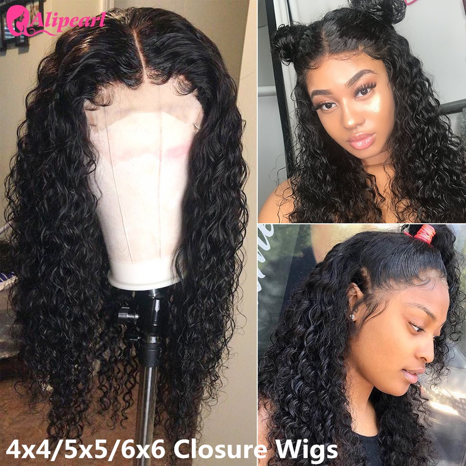 6x6 Lace Closure Wig Curly Human Hair Wigs For Black Women 150 180 Density Remy Brazilian 4x4 5x5 Lace Closure Wig AliPearl Hair