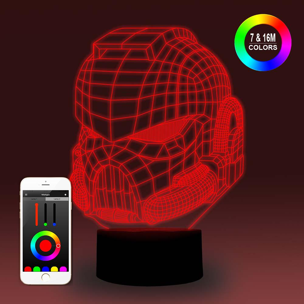 NiteApps 3D Shlem Orgsteklo Night Light Desk Table Illusion Decoration Lamp Holiday Birthday Gift APP/Touch Control