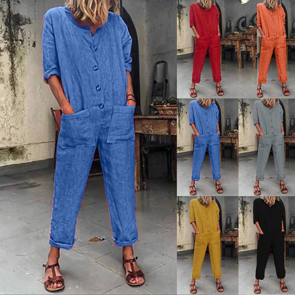 Women's Pockets Button Cotton And Linen Long Sleeveless Loose Rompers Jumpsuit jumpsuit women combinaison femme bodys para mujer