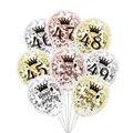 6 шт./лот, воздушные шары на день рождения с цифрами 45, 46, 47, 48, 49, розовое золото, серебро, 45, 46, 48, вечерние украшения, прозрачный шар на годовщин...