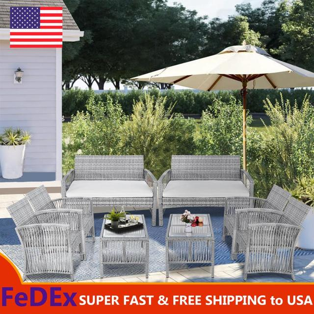 8 Pieces Outdoor Furniture Rattan Chair & Table Patio Set Outdoor Wicker Sofa for Garden Backyard Porch and Poolside 1