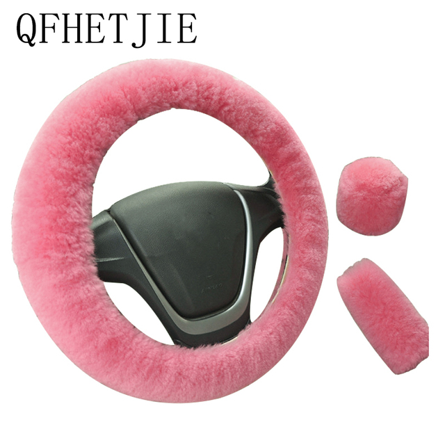 Car Steering Wheel Cover 16 colors Winter Universal Hand Brake Gear Position Gear Three piece Fur Cover Car Interior Accessories