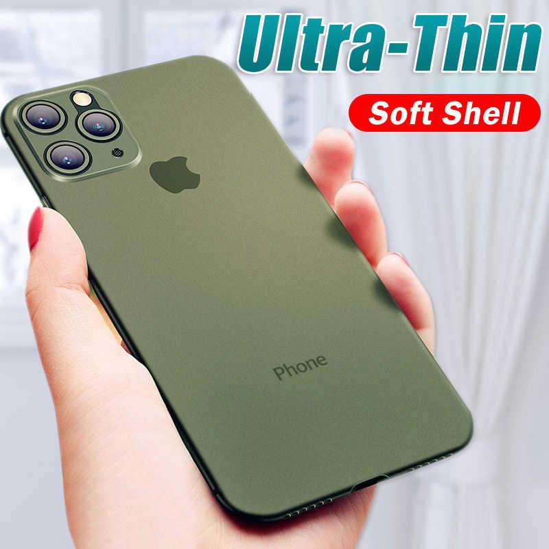 Luxo à prova de choque 0.3mm ultra fino caso para iphone 11 pro x xs xr max matte tpu capa para iphone 8 7 6s plus capa macia