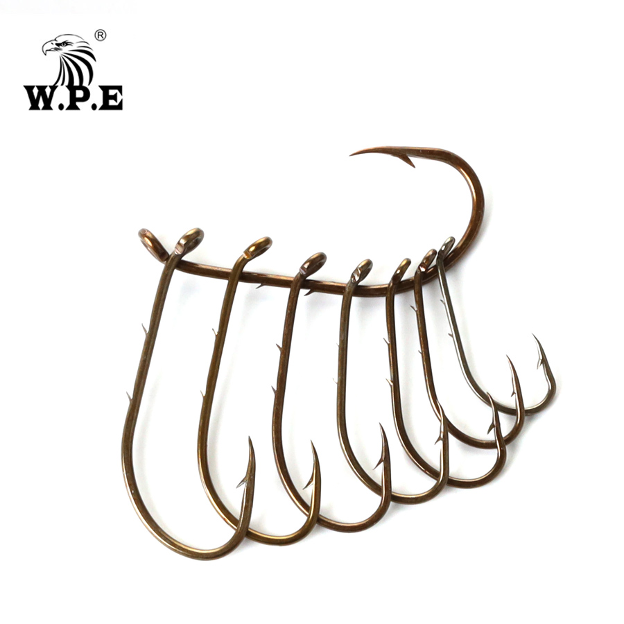 W.P.E Brand Barbed High Carbon Steel Fishing Hook 2Packs/Set Size 1#-4# 1/0#-4/0# Fishhooks Carp High-carbon