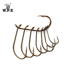 W.P.E Brand Barbed High Carbon Steel Fishing Hook 2Packs/Set Size 1#-4# 1/0#-4/0# Fishhooks Carp High-carbon