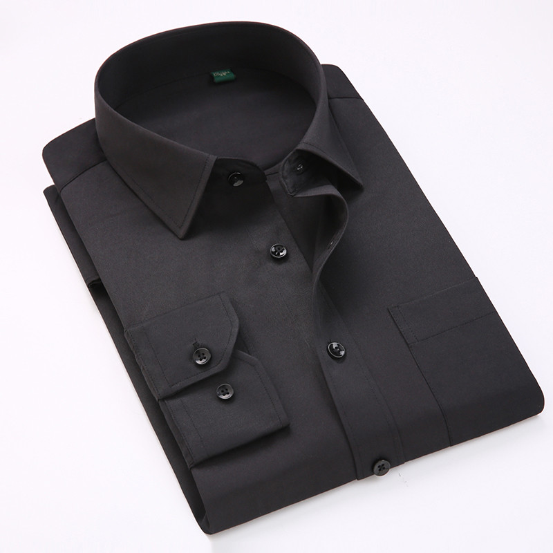 Comfortable  business  men's solid plain dress shirts long sleeve square collar regular fit male social shirt 3