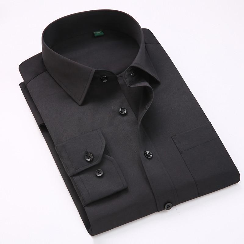 Comfortable  business  men's solid plain dress shirts long sleeve square collar regular fit male social shirt 3